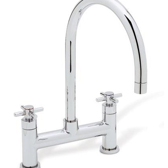Blanco 440571 Meridian Double Handle Bridge Kitchen Faucet In Satin Nickel 157 135 St Blanco