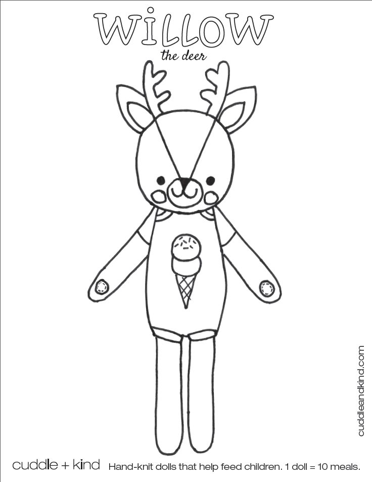 cuddle+kind willow the deer colouring sheet. www
