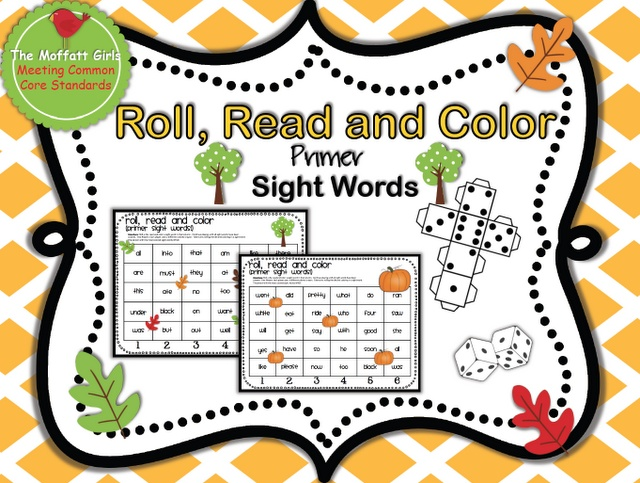primer Dolch sight words!  There are 2 fun fall sight word Roll, Read and Color sheets and also include a big die to roll!