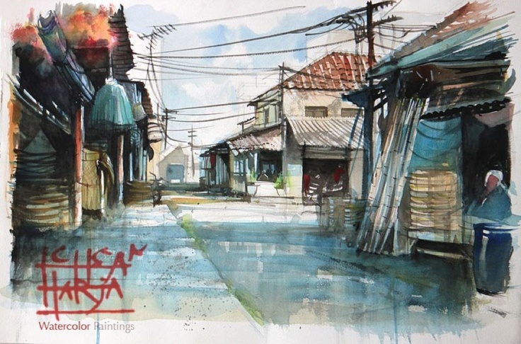 """Toko Anyaman Jalan Pasarbaru, Bandung"". Watercolor on paper, 38X56 cm, painted about two hours at location by M. Ichsan Harja Nugraha."