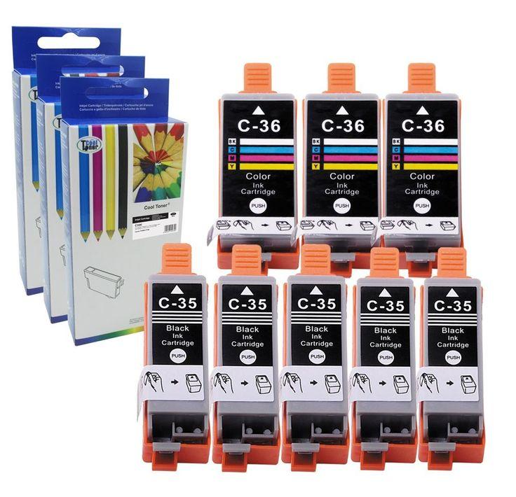 8PK PGI-35 CLI-36 PGI35 CLI36 Compatible Ink for Canon Pixma iP100 iP110 w/CHIPS #CoolToner