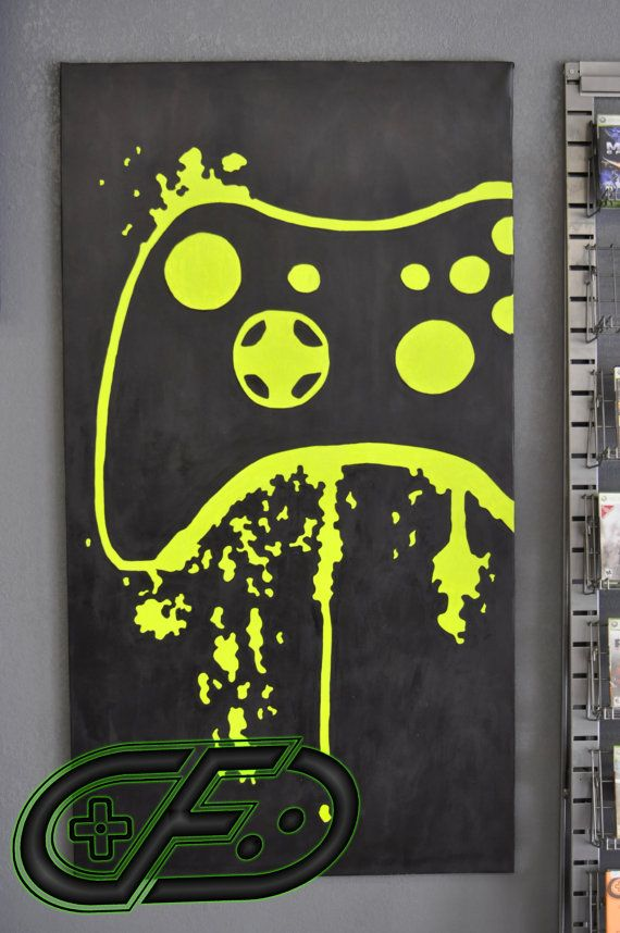 XBOX 360 Video Game Room Painting by ControlFreakGameArt on Etsy