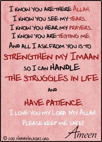 Oh, Allah when you put me to a test, please also give me patience.