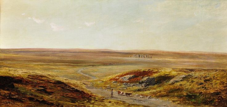 Salisbury Plain, Stonehenge in middle ground by Hesketh Davis Bell