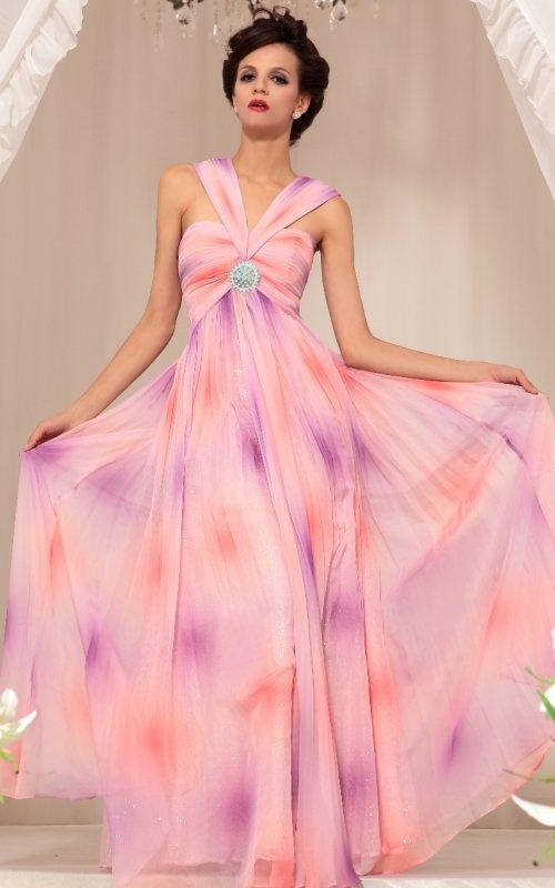 Empire ruffle light colorful prints long summer beach party dresses/ prom gown [30755] - US$156.00 : PrettyDoris.com