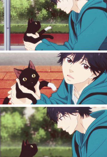 """Ao Haru Ride  Kou/ """"parece que tiene una calceta blanca """"es un lindo gato no crees?"""