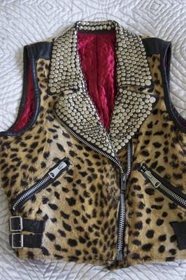 Leopard studded vest with red velvet lining