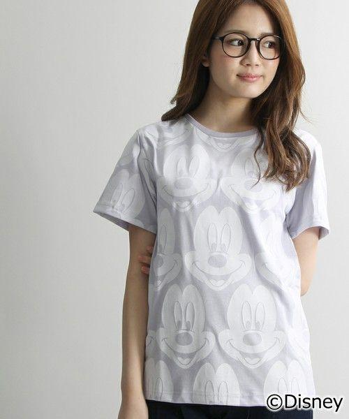 WEGO LADY'S(ウィゴーレディース)の∴WEGO/ミッキー 総柄Tシャツ(Tシャツ/カットソー)|ライトパープル