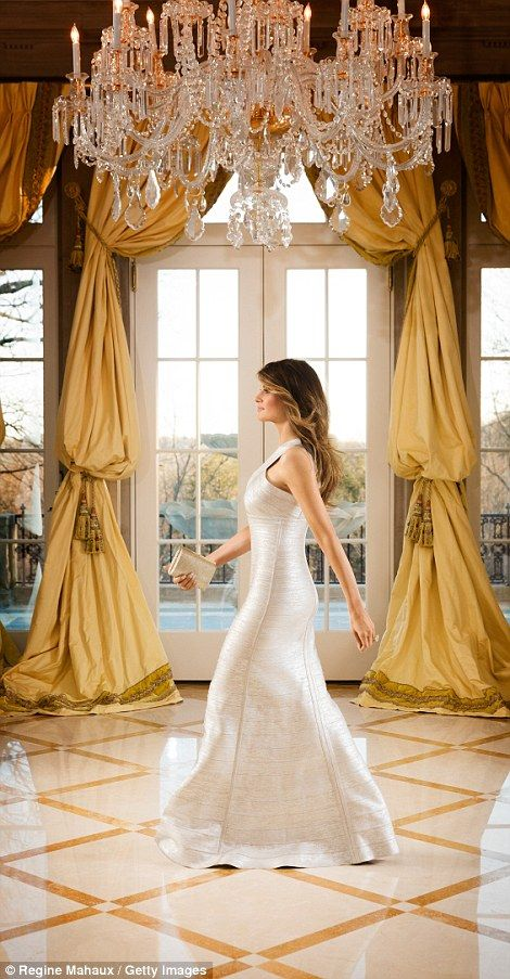 Melania poses in a grand reception room at their Bedford country house