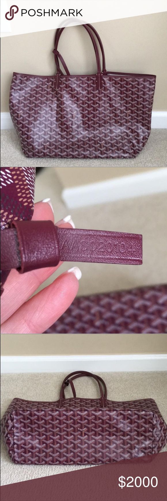 100% Authentic Burgundy Godard St. Louis PM 100% Authentic Burgundy Goyard St Louis Tote PM. With mini pouch.  Barely used - shows no signs of wear.  19 x 11 x 6 Purchased at Barneys NY. Goyard Bags Totes