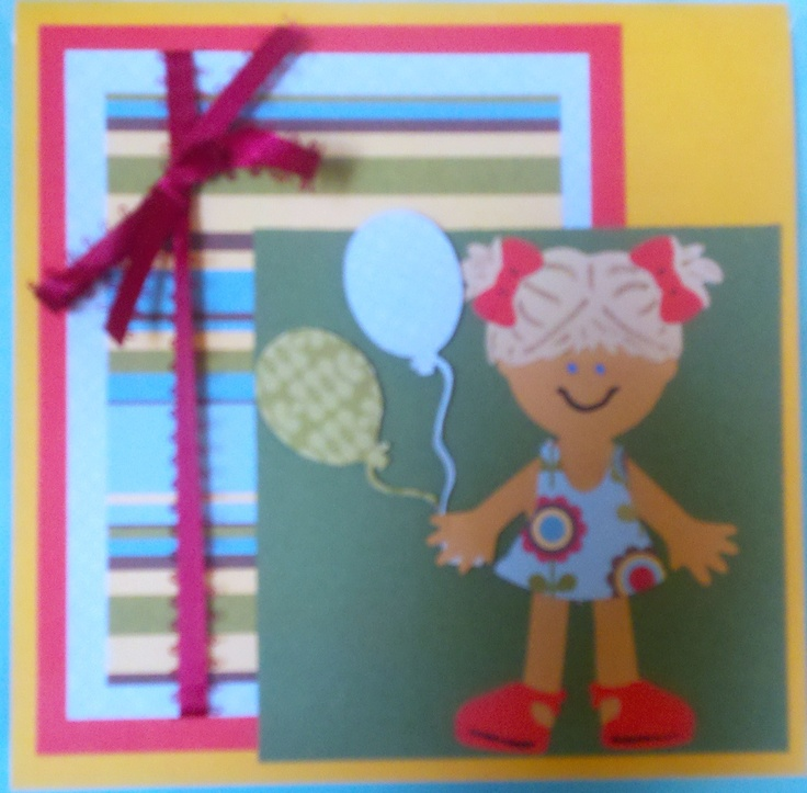 Cricut Everyday paperdolls cartridge...birthday card for a little girl.
