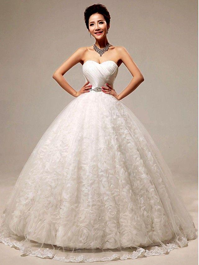 Ball Gown Floor-length Wedding Dress -Sweetheart Lace - USD $139.99