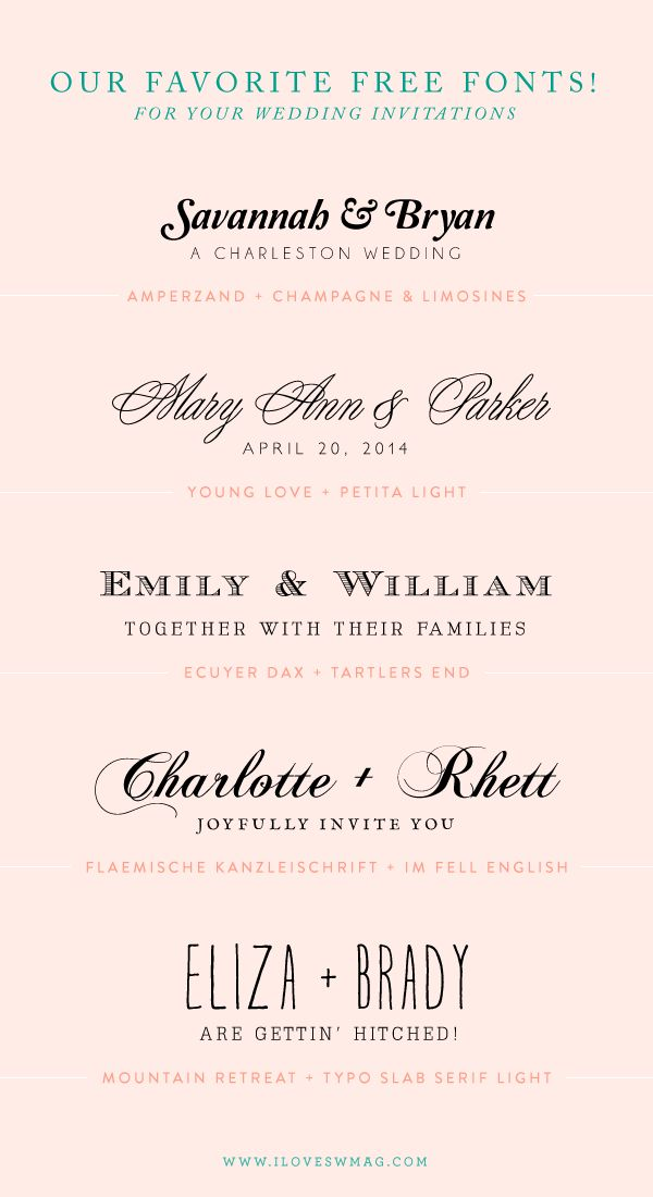 our favorite free font combinations for wedding invitations!
