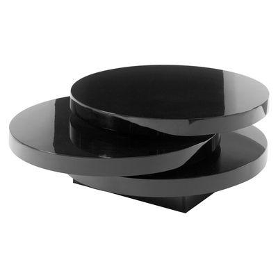 triplo round gloss swivel coffee table black | coffee tables