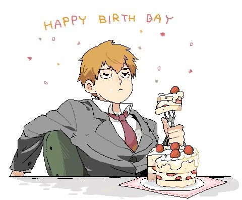 Reigen enjoying his cake on his birthday