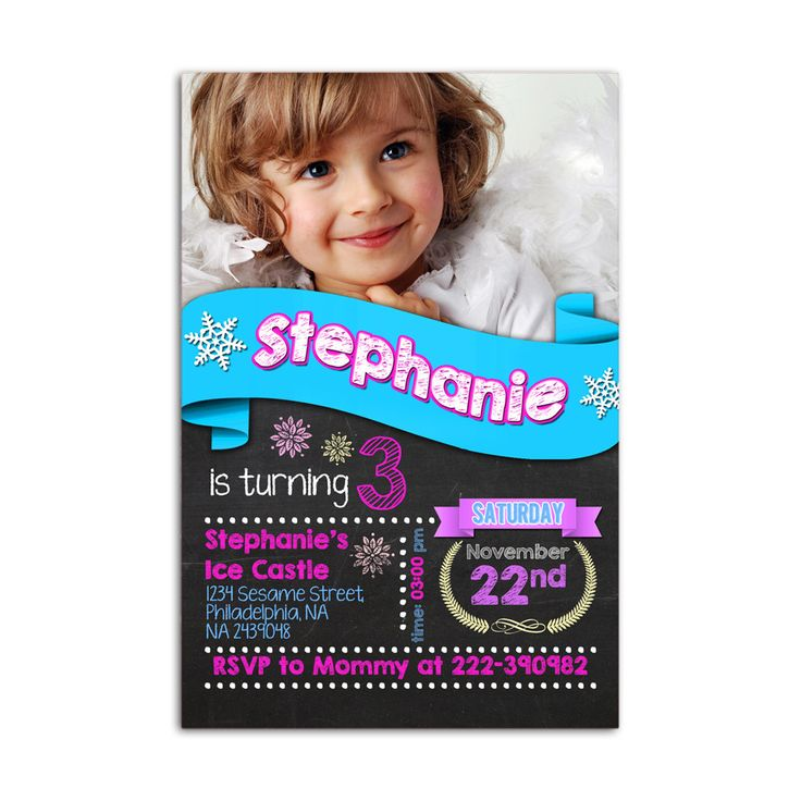 Personalized Photo Elsa and Anna Frozen Kids Birthday Invitation Party Design