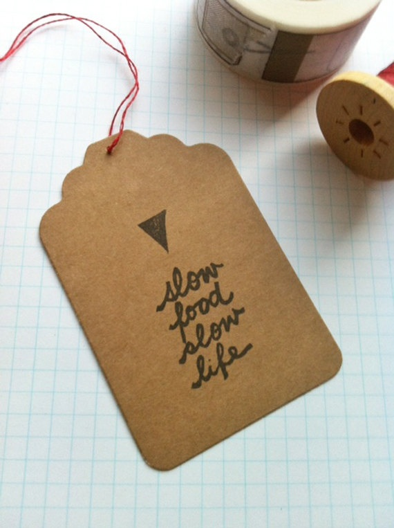 life and food gift tag  slow food slow life  brown by talktothesun