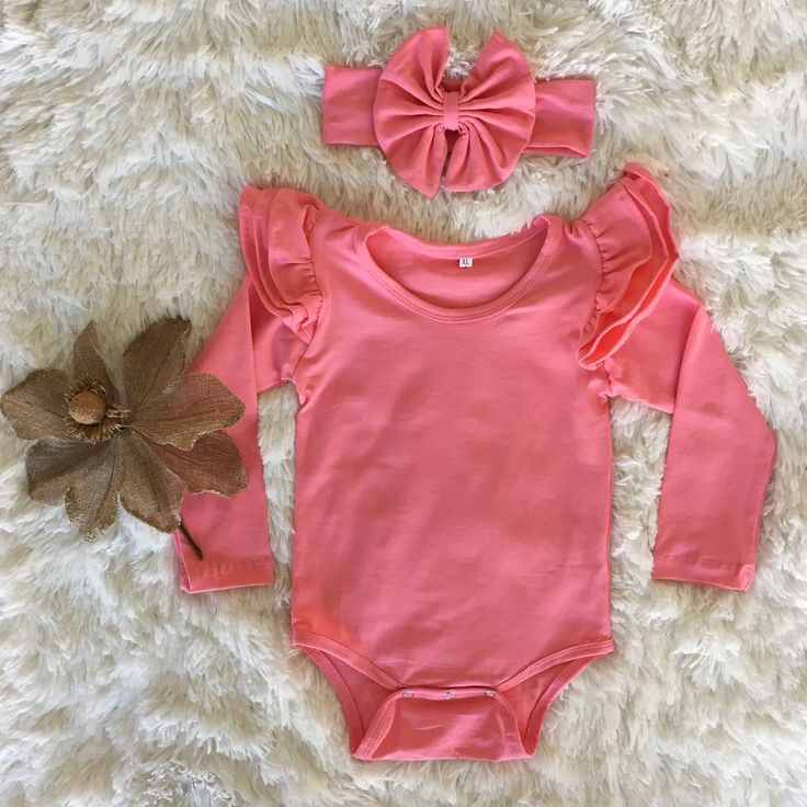 Long Sleeve Flutter Bodysuit   headwrap - Coral
