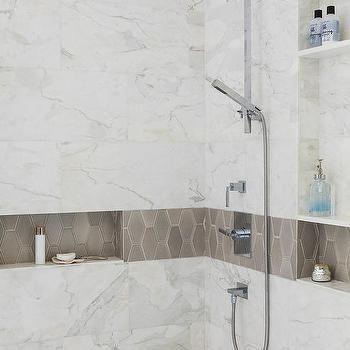 taupe geometric border shower tiles | shower tile, marble