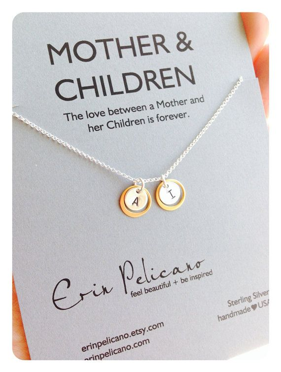 Initial Jewelry. Mother Children Necklace. Gold and Silver Necklace // Delicate Necklace www.erinpelicano.etsy.com