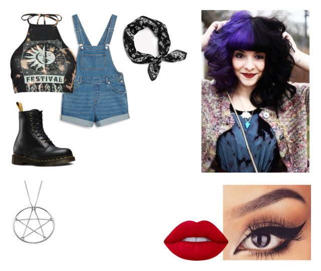 """""""3"""" by midnighthillzy on Polyvore featuring Lime Crime, Monki, Boohoo and Dr. Martens"""