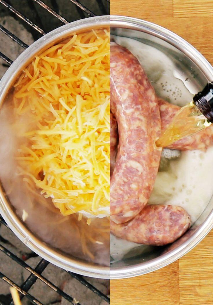Linguiça assada no molho de queijo e cerveja