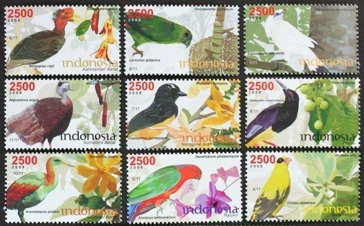 Indonesia, 2008. Perangko Tua Dan Langka: Perangko Burung (Birds)