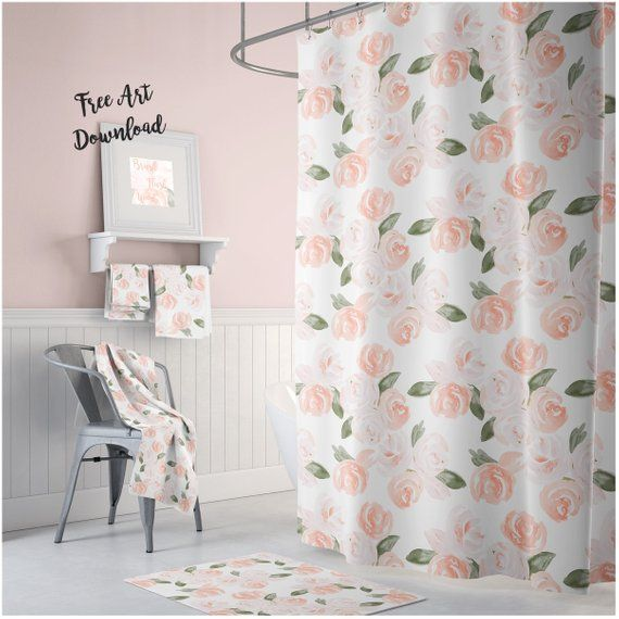 Floral Shower Curtain Bathroom Art Girls Room Watercolor Floral