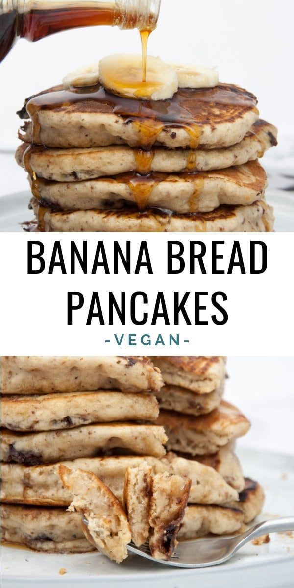 Vegan Banana Bread Pancakes with chocolate chunks. You'll never have to decide b…