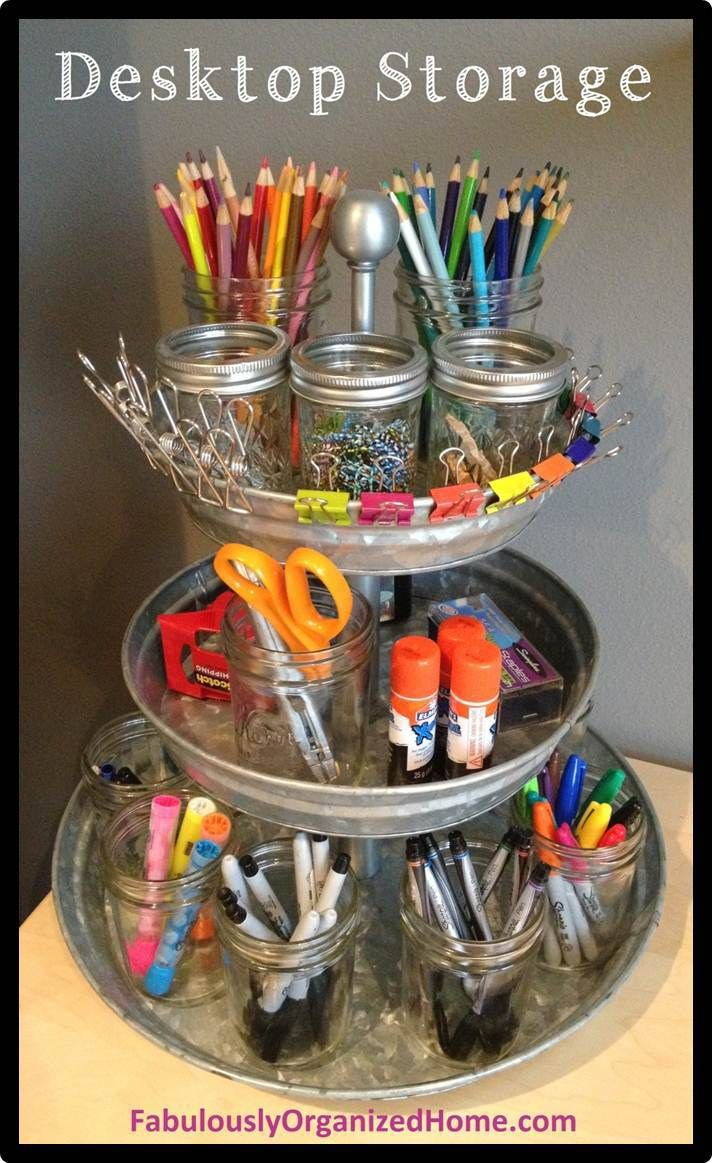 Desktop storage idea.  Perfect for Emily and her ump-teen million colored pencils and markers.