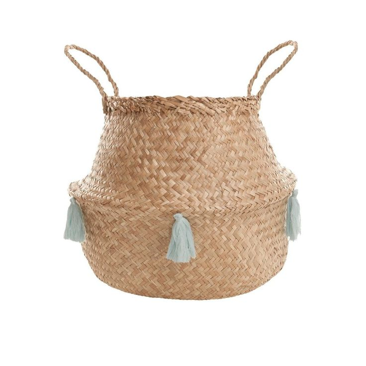 Olli ella grey tassel belly basket / Large size $55.00 / On trend homewares 2017 / Peppa Penny Interiors