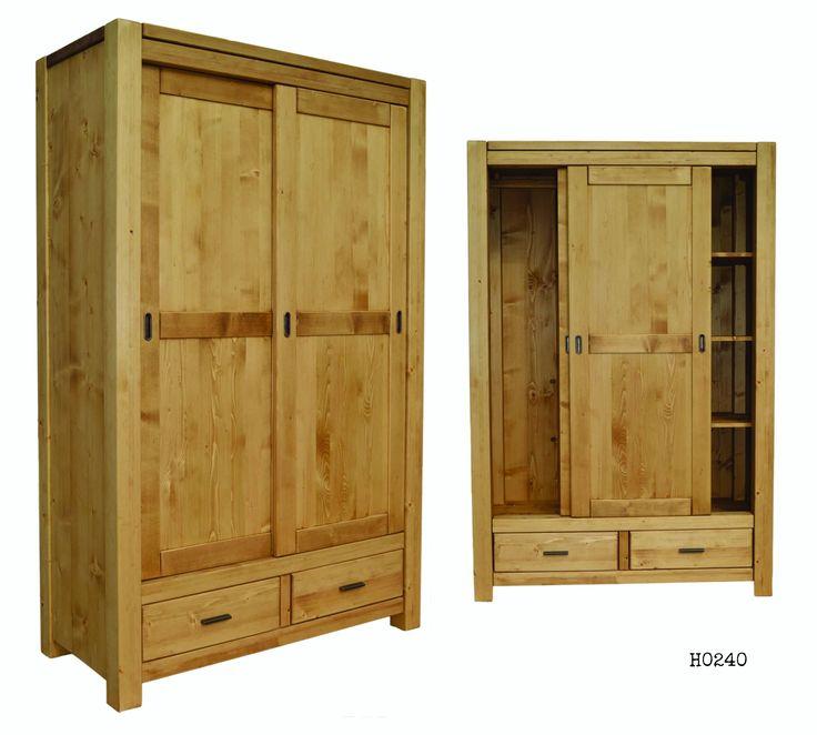 tömör fenyőfa tolóajtós szekrény, viaszolt felülettel. Solid wood wardrobe