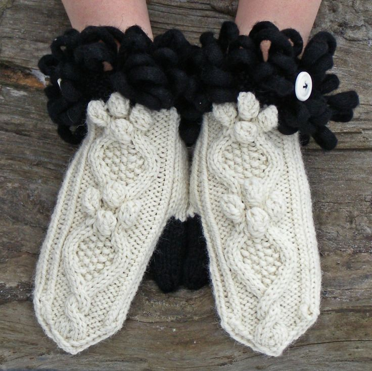 Alpaca wool mittens, Knit black and white warm winter gloves, Unique gift for best friend, Knitted bobble mitts - pinned by pin4etsy.com