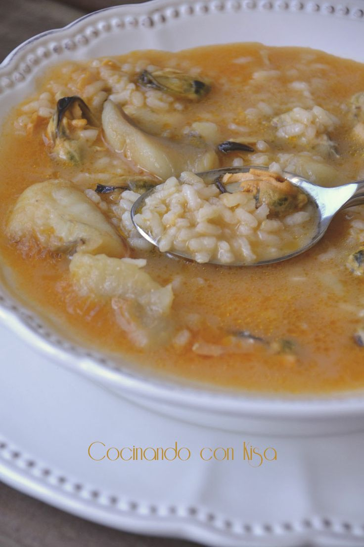 Cocinando con Kisa: Arroz caldoso con rape y mejillones { thermomix }