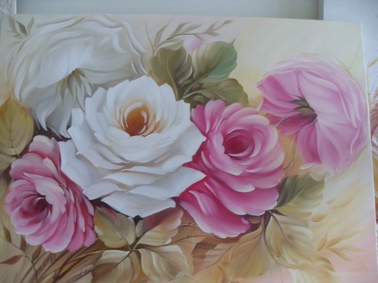 Pintura em tela- rosas by Clara Padovani