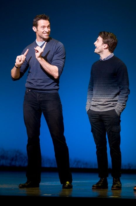 Hugh Jackman and Daniel Radcliffe celebrating their fundraising efforts for Broadway Cares/Equity Fights Aids