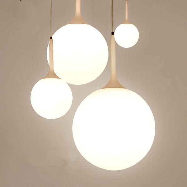 1 lumière moderne Lustres en verre pendentif boule lumières salle à manger salon pendentif lampes suspension luminaire lait blanc abat jour dans Éclairage suspendu de Lumière et éclairage sur AliExpress.com | Alibaba Group