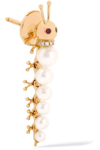 Yvonne Léon - 18-karat Gold Multi-stone Earring - one size