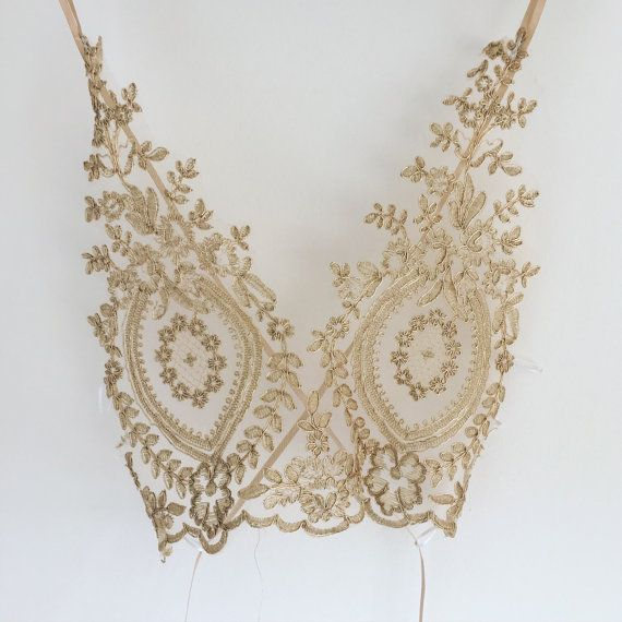 Gold vintage festival bralet bralette french by mooncrybaby