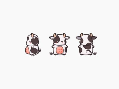 OMG too cute cow illustration <3