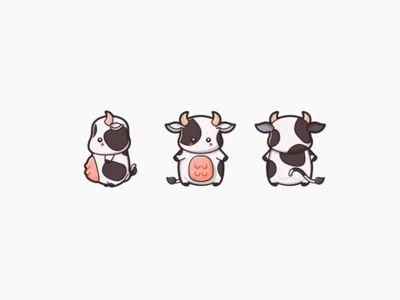 OMG too cute cow illustration <3
