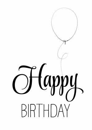 Hippe verjaardagskaart in zwart wit, handlettering Happy Birthday met een…