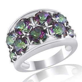 4.79 Ct Round Cut Green Topaz In 925 Sterling Silver Band Ring by JewelryHub on Opensky