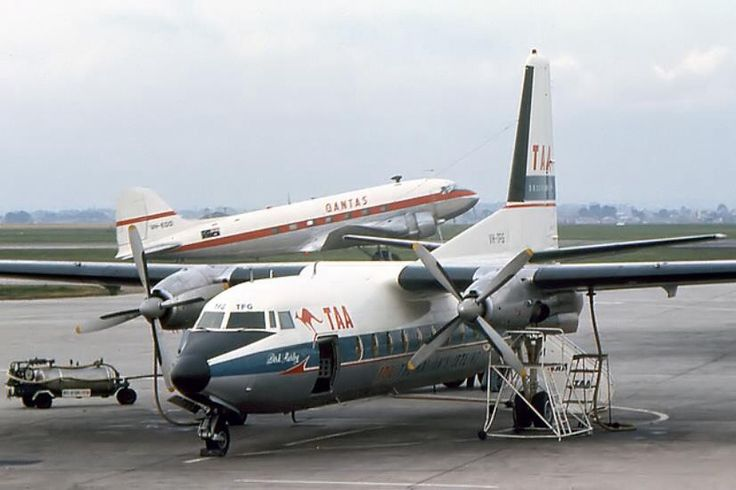TAA Fokker F27 with a Qantas DC-3