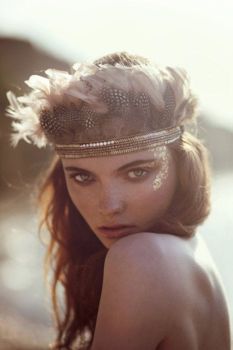Tribal Feather crown and gold glitter make-up