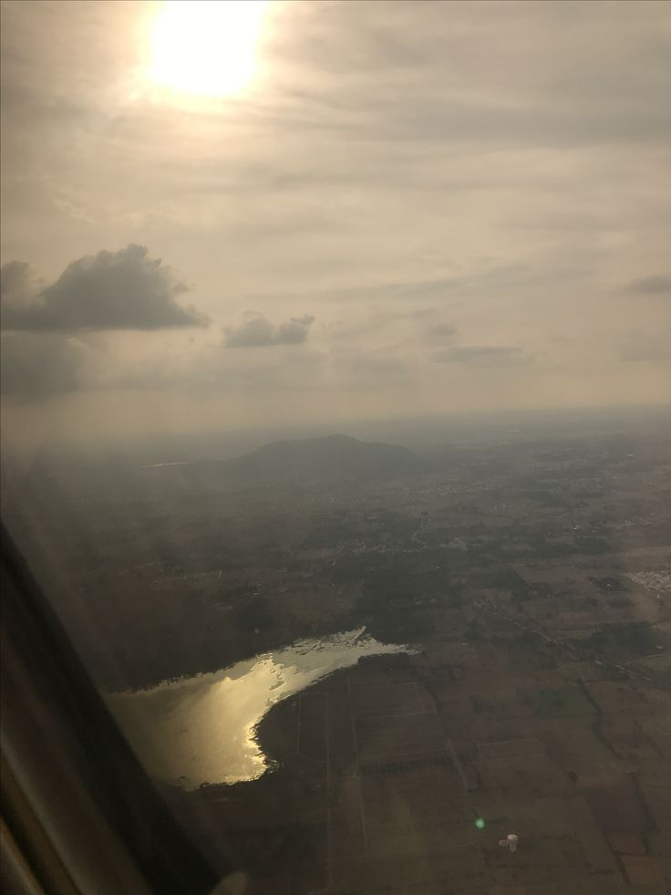Kaveri river simmers in sunshine when seen from airplane. Beautiful