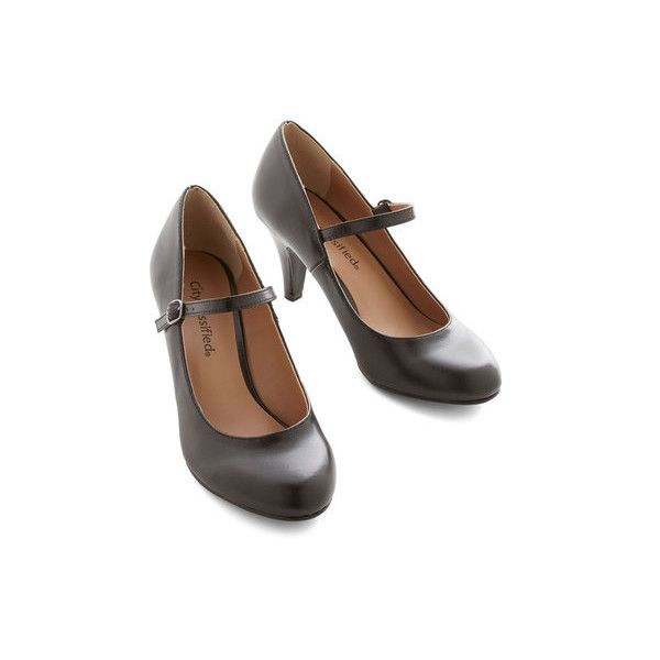Vintage Inspired Talk of the Office Heel ($35) ❤ liked on Polyvore featuring shoes, pumps, heels, black, mary jane heel, mary-jane shoes, heeled mary janes, black maryjane shoes, vegan shoes and black mary jane pumps
