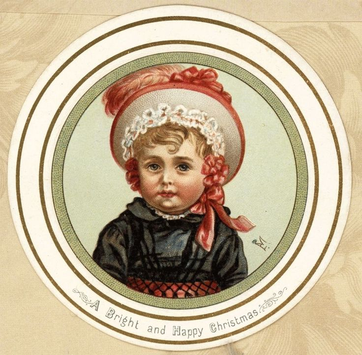 c1885 Sm Round Antique Victorian Christmas Card Sweet Bonnet Girl A/S EM