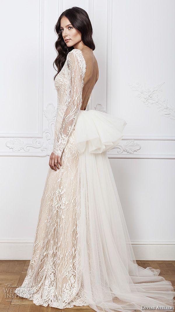 DIVINE ATELIER 2016 #bridal gowns lace sheer long sleeves deep plunging v neck fully embellished vintage lace sheath #wedding dress open back detachable panel train (calia) sv