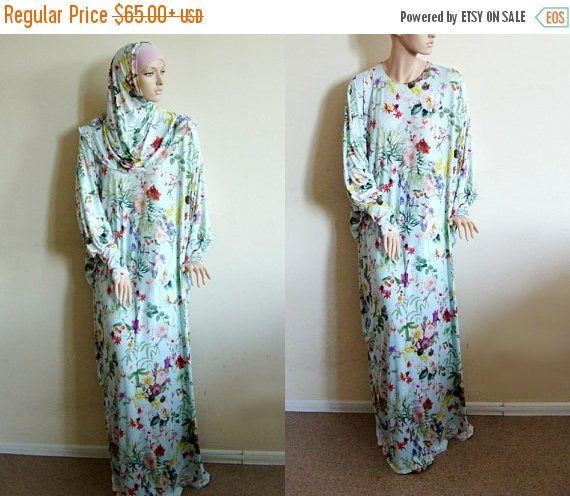 Ramadan EID sale Floral Maxi Dress Plus Size, Prayer dress, Farasha Caftan, Boho dress, Muslim clothing, abaya Dress, Modern hijab, Burqa, S